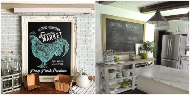 Интерьер кухни: сделайте грифельную доску или стену