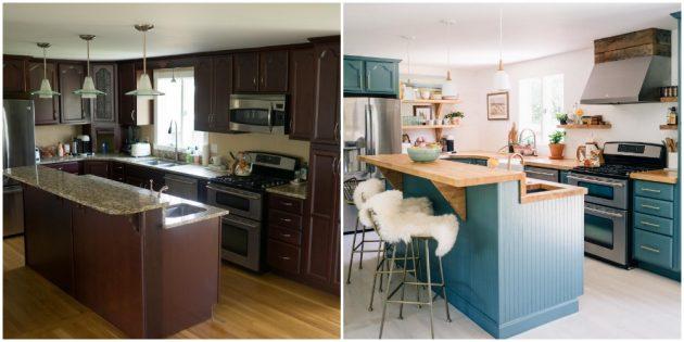 Перекрасьте старый гарнитур на кухне