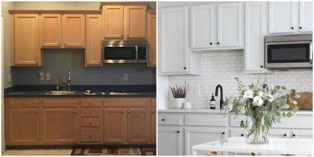 Интерьер кухни: перекрасьте старый гарнитур
