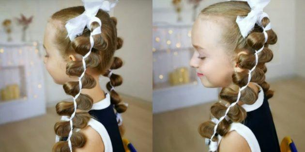 Причёски на 1сентября: высокие хвостики с лентами