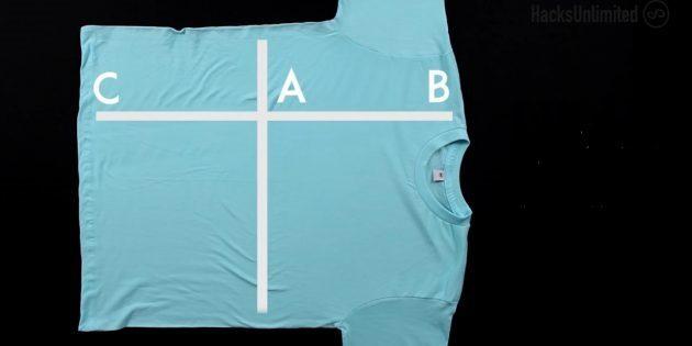 Отметьте три точки: А — на пересечении двух линий, B — на линии у воротничка, а C — в конце продольной линии