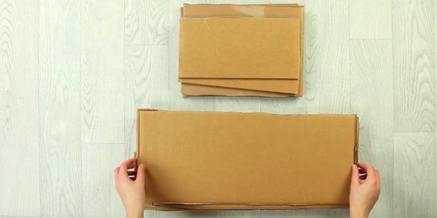 Разрежьте коробку на несколько частей