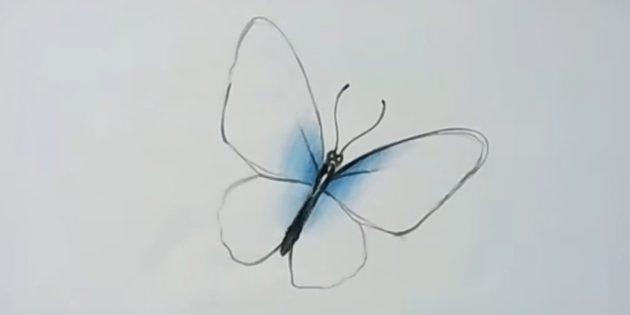 Сделайте линии пожирнее и частично закрасьте крылья синим цветом