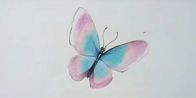 Закрашивайте крылья бордовым карандашом