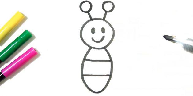 Нарисуйте усики на голове бабочки
