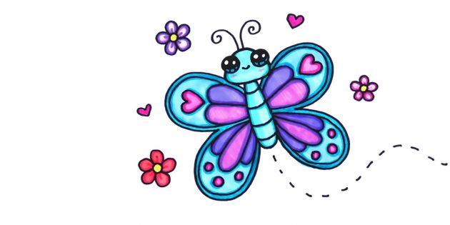 Как нарисовать мультяшную бабочку посложнее фломастерами или карандашами