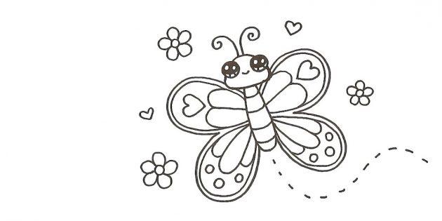 Нарисуйте вокруг бабочки цветочки и сердечки, а от туловища — волнообразную пунктирную линию