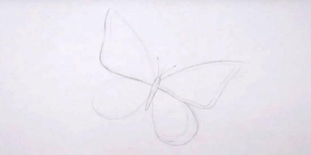 Нарисуйте тельце, усики и очертите границы крыльев