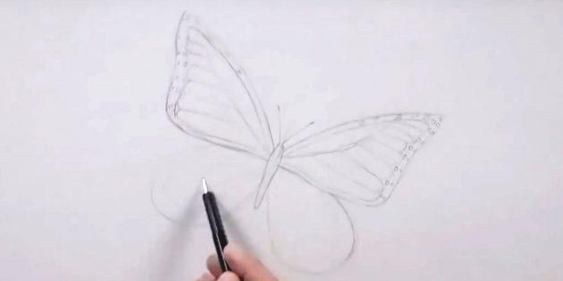 Нарисуйте кружочки по краям крыла справа и наметьте узор крыла слева