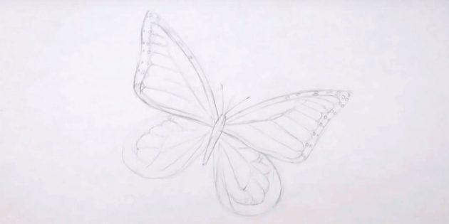 Наметьте узор на нижних крыльях