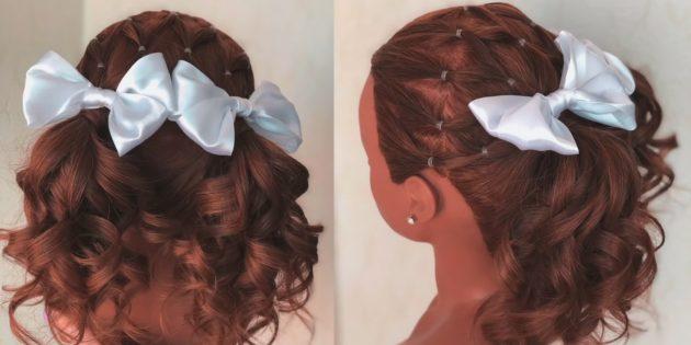 Причёски на 1сентября: хвостики с узором из резинок