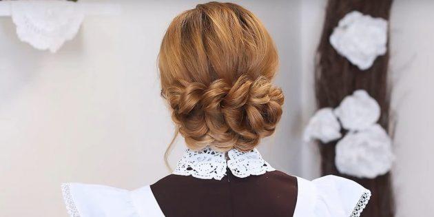 Причёски на 1сентября: низкий пучок из косы без плетения