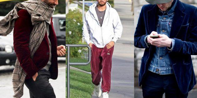 Бархатные элементы в мужской модной одежде