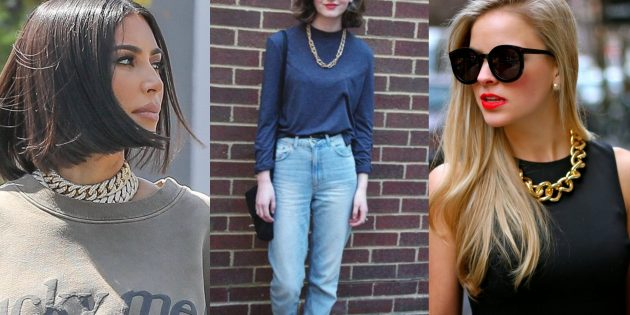 Модные тенденции осени 2019: массивные металлические ожерелья-цепочки