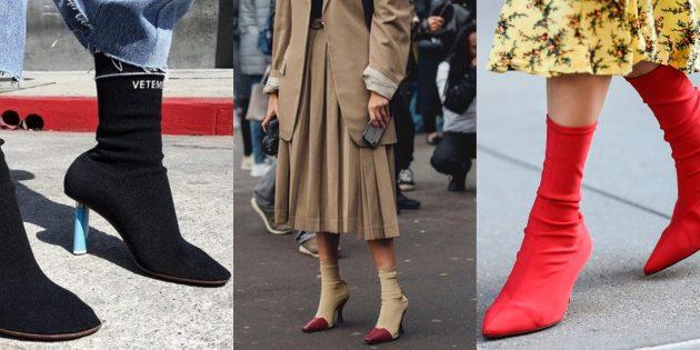 Модная обувь осень-зима 2019/2020: сапоги-чулки