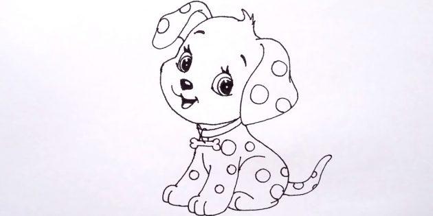 Как нарисовать сидящую собаку в мультяшном стиле