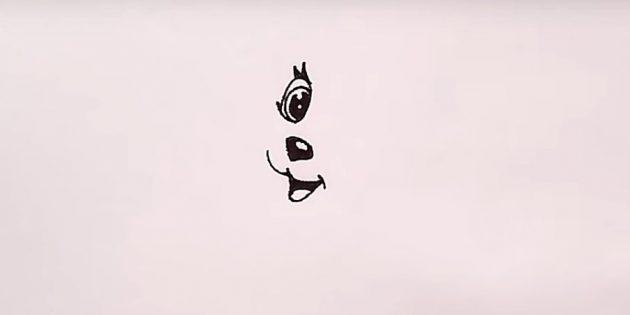 Нарисуйте глаз и обозначьте язык