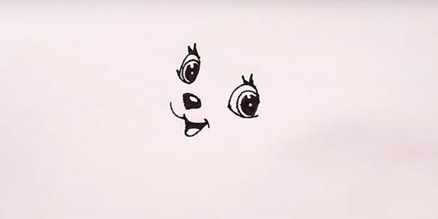 Справа нарисуйте второй глаз