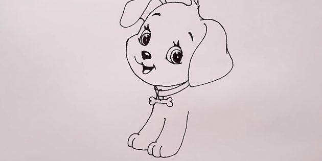 Нарисуйте лапы собаки