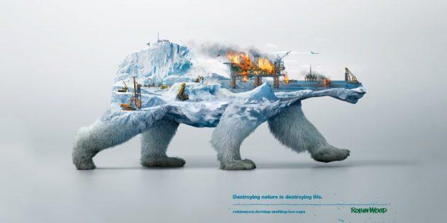 Если вы затрагиваете экологические проблемы, используйте реалистичные изображения последствий