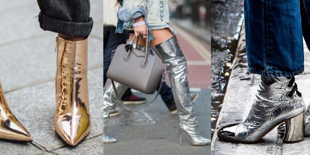 Модная обувь осень-зима 2019–2020 цвета металлик