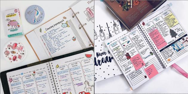 Рисунки и стикеры в ежедневнике