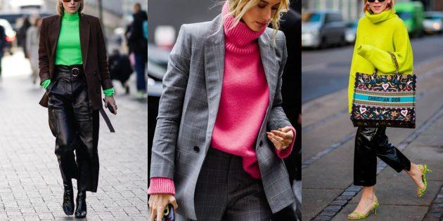 Мода осень 2019: неоновые свитера-водолазки