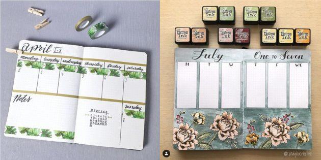 Декоративный скотч и цветочные узоры в ежедневнике