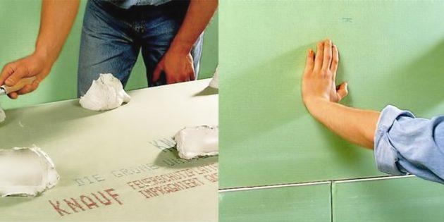 Как выровнять стены гипсокартоном на клею