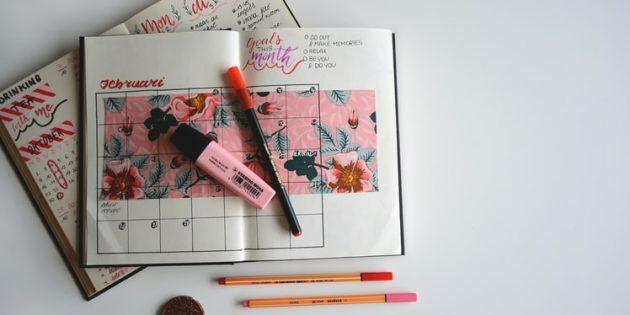 План на месяц в ежедневнике