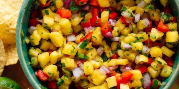 Соус сальса с ананасом и болгарским перцем