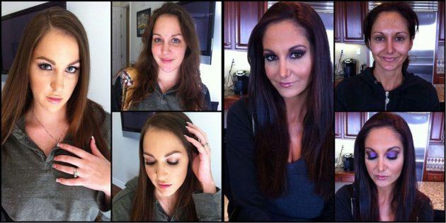 Порнозвёзды до и после нанесения макияжа.