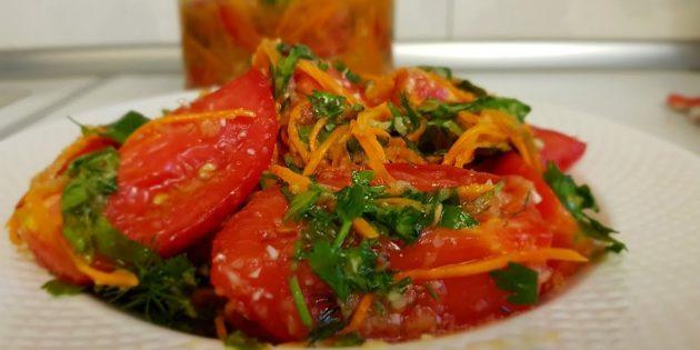 Помидоры по-корейски с морковью, болгарским перцем и приправой для моркови