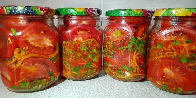 Помидоры по-корейски на зиму с морковью, болгарским и острым перцем и зеленью