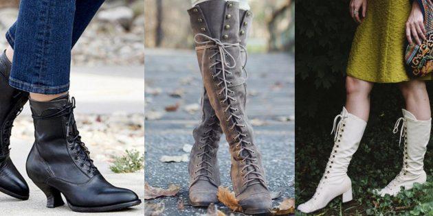 Модная обувь осень-зима 2019/2020 с викторианской шнуровкой