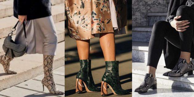 Мода осень 2019: обувь под змеиную кожу
