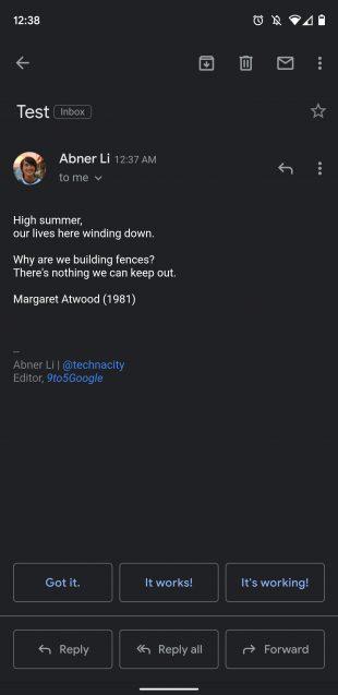 Тёмная тема в Gmail для Android