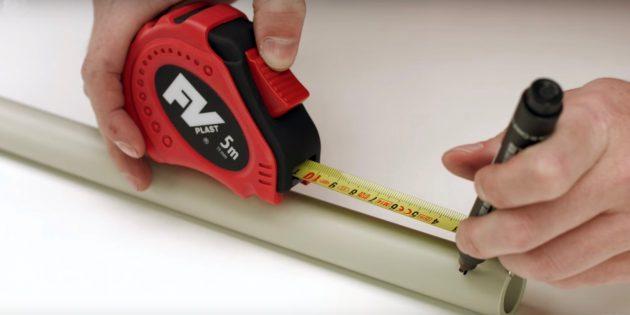 Отмерьте необходимую длину трубы