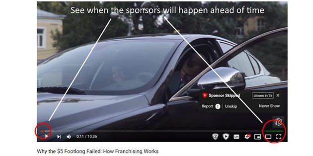 Расширение, которое пропускает спонсорскую рекламу на YouTube