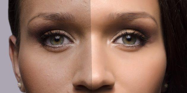 На отфотошопленной фотографии у людей часто нет морщинок и прочих недостатков