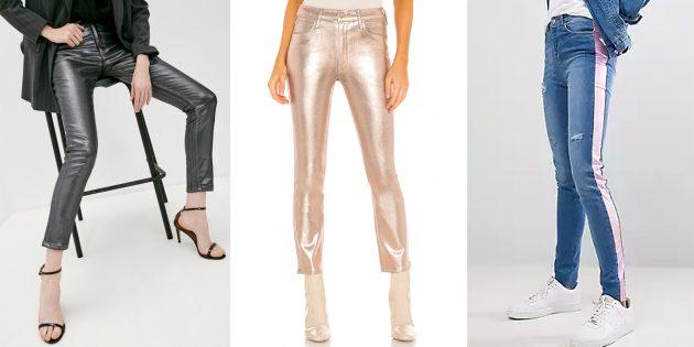 Модные женские джинсы — 2021: джинсы цвета металлик