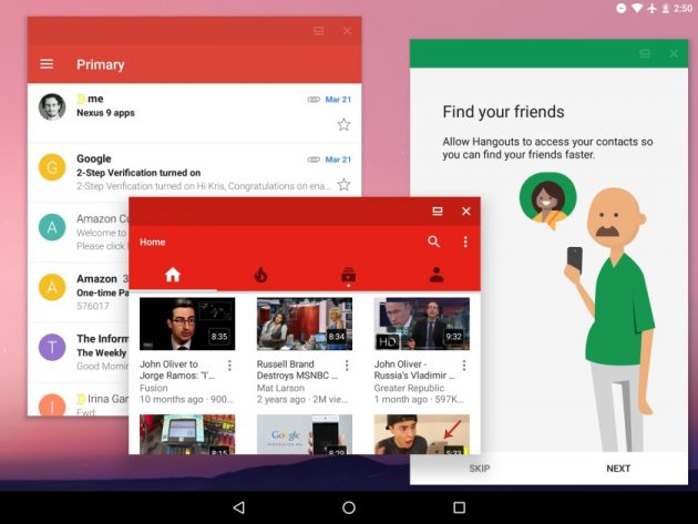 Приложения на Android, открытые в окнах