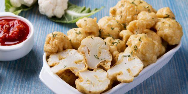 Цветная капуста, жаренная в яично-сметанном кляре с сыром и горчицей