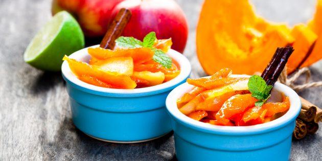 Тыква в духовке, запечённая с яблоками и изюмом
