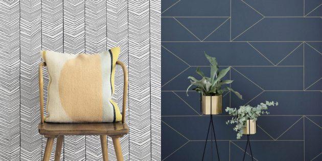 Обои для спальни с геометрическими узорами