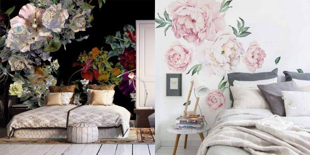 Обои для спальни: крупные цветы