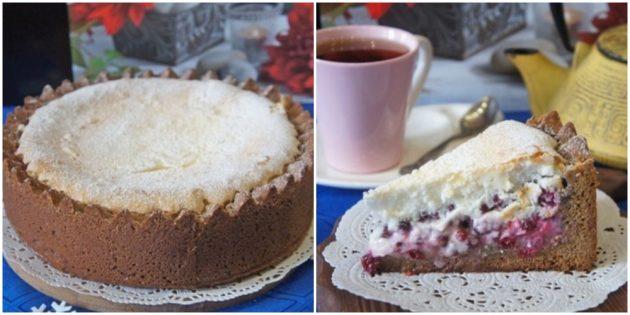 Пряный пирог с брусникой и белково-сметанным кремом