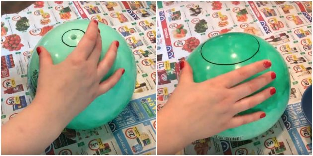 Нарисуйте на шаре окружности с двух сторон