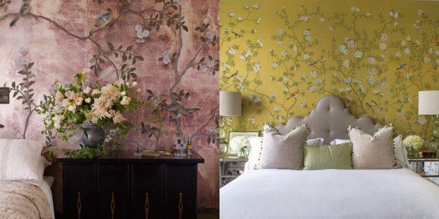 Причудливые цветочные мотивы на обоях для спальни
