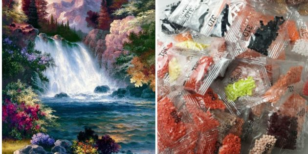 Алмазная вышивка с водопадом